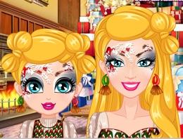 Bebek Ve Anne Barbie Yüz Boyama Oyna